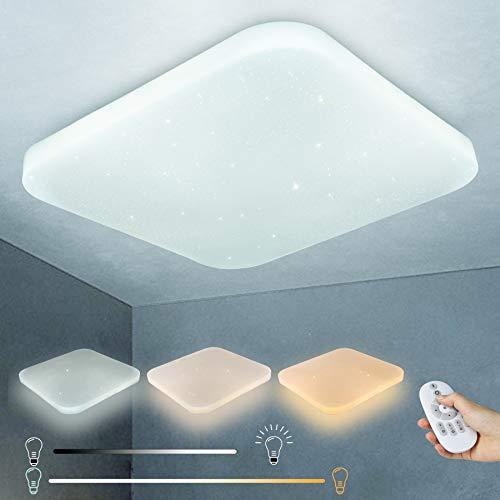 LUSUNT LED Lámpara de Techo -26W Regulable Luz de Techo -Plafon LED para Dormitorio Habitacion Baño Cocina Sala de Estar Comedor Balcón LED Plafón Moderna Impermeable 3000~6000K 2050lm