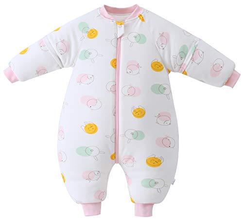 Chilsuessy Baby Ganzjahres Schlafsack mit Füßen, abnehmbar Langarm, Kinder Winter Schlafsack mit Beinen, 2.5 Tog 3.5 Tog kleinkind Schlafsäcke (XL/Baby Höhe 100-110cm, Rosa Tiere/3.5 Tog)