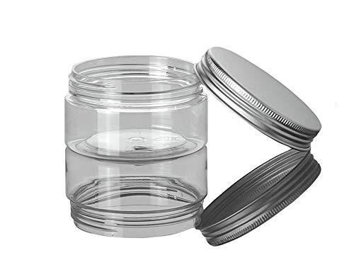 3 Pcs 100 ml claires vides rechargeables pour animal domestique col large Cosmétique Bocal avec bouchon en aluminium Crème Lotion support coque Maquillage récipient de stockage