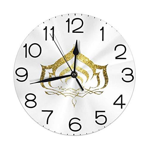 Warframeのロゴ 掛け時計 丸型 サイレント 壁掛け時計 連続秒針 置き時計 デジタル ウォールクロック 高級感 装飾 おしゃれ デジタル時計 おしゃれ 人気