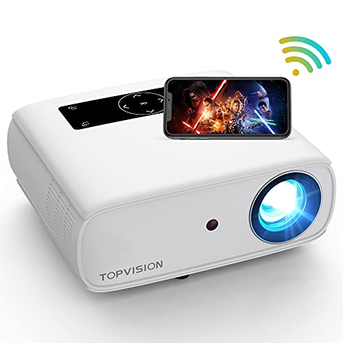 """5G WiFi Projector, TOPVISION 8500L Native 1080P Video Projector, 4K Supported & 300"""" Bluetooth Movie Projector, Portable Outdoor Projectors Compatible with TV Stick, HDMI, AV, USB, PS4, Smart Phone"""