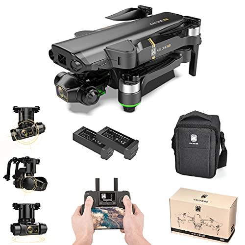 YOU339 KAIONE Pro 5G Dron de fotografía 4K HD 3 ejes Gimbal GPS sin escobillas Cuadricóptero RC con imagen de aire y bolsa portátil (2 pilas) - Gris Negro