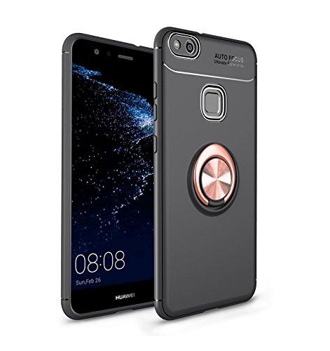 Sigua Funda Compatible para Huawei P10 lite [2 × Protector de cristal Templado],Titular del teléfono Case carcasa ,360 °de Protection Case Cover Smartphone Huawei P10 lite Fundas.Oro & Negro