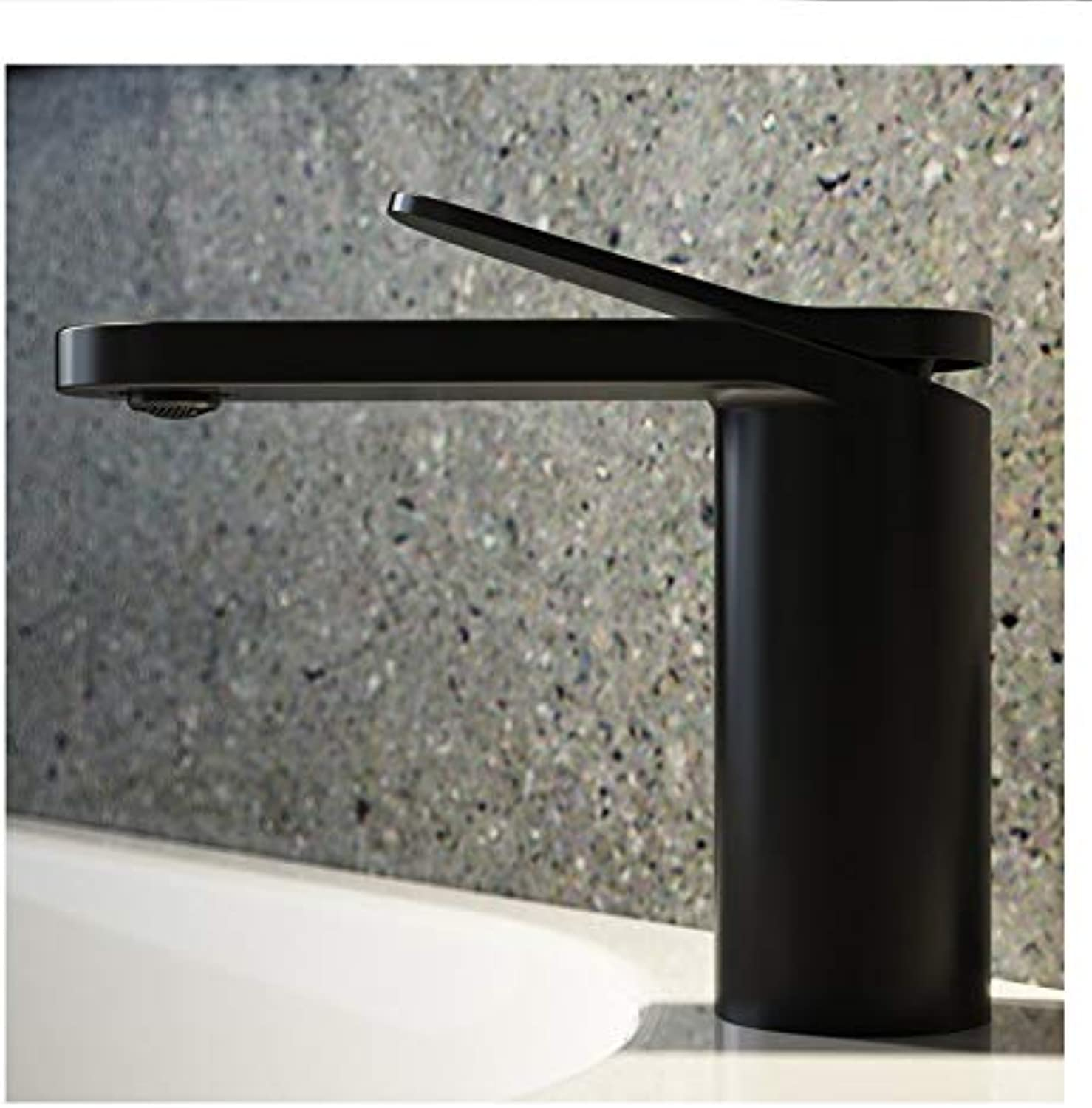 redOOY Taps Matte Black Painted Copper Long Handle Basin Faucet Hotel Bathroom Hot And Cold Mixed Water Wash Basin Faucet