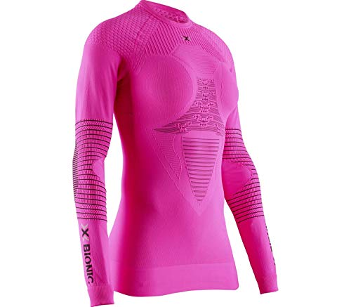 X-Bionic Energizer 4.0 Round Neck Long Sleeves, Strato Base Camicia Funzionale Donna, Rosso (Neon Flamingo/Anthracite), S