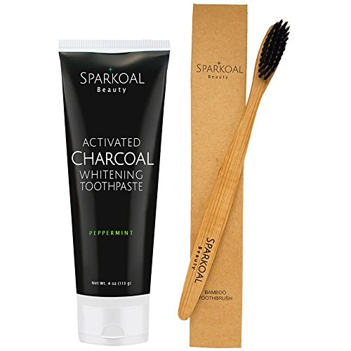Activated Charcoal Toothpaste Made in USA with Bonus Bamboo Toothbrush - Fluoride Free - Activated Charcoal Teeth Whitening with Organic Coconut Oil - Removes Tooth Stains - Safe Ingredients