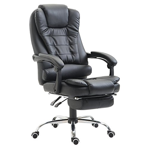 HomCom Reclining PU Leather Executive Home Office Chair with Footrest - Black black chair gaming