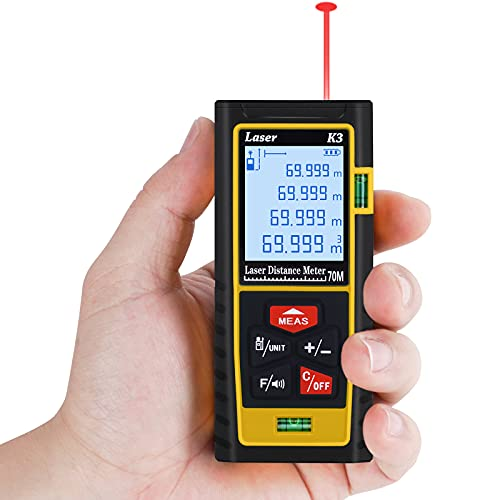 Laser Measure, CHOOBY 229 Ft Digital Laser Distance Meter with 2 Bubble Levels, Built in Pythagorean Mode and M/in/Ft Unit Switching Backlit LCD, Measure Distance, Area and Volume - (Yellow)