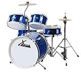 XDrum Junior Kinder Schlagzeug Drumset (geeignet von 5-9 Jahren, mit viel Zubehör, Schule, DVD) Blau