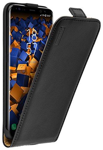 mumbi Echt Leder Flip Hülle kompatibel mit Samsung Galaxy S8 Hülle Leder Tasche Hülle Wallet, schwarz