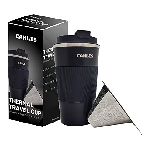 Pour Over Coffee Maker for Travel - Cahlis all-in-one Travel Coffee Maker and Thermal Cup - One Cup Pour Over Coffee Maker with Vacuum Insulated Stainless Steel Cup with Paperless Filter Dripper