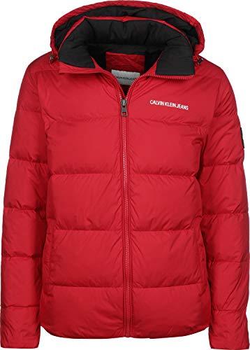Calvin Klein Jeans Herren Daunenjacke mit Kapuze Hooded Down Puffer Jacket rot (74) L
