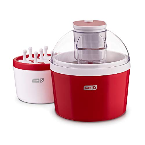 Dash DIC700RD 2in1 Ice Cream Frozen Yogurt Sorbet  Popsicle Maker with Easy Ingredient Spout DoubleWalled Insulated Freezer Bowl amp Free Recipes 1 quart Red