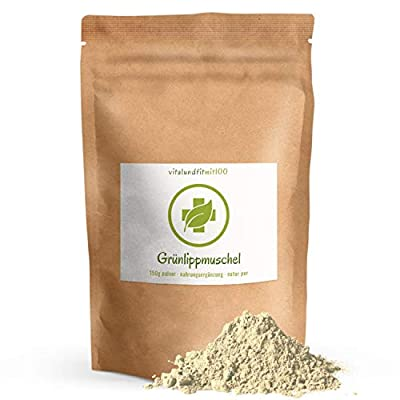 Grünlippmuschel Pulver - 150 g - Perna canaliculus - reich an Omega 3/6 Fettsäuren – Grünlippmuschelpulver in geprüfter Qualität - 100% rein - glutenfrei, laktosefrei - OHNE Hilfs- u. Zusatzstoffe
