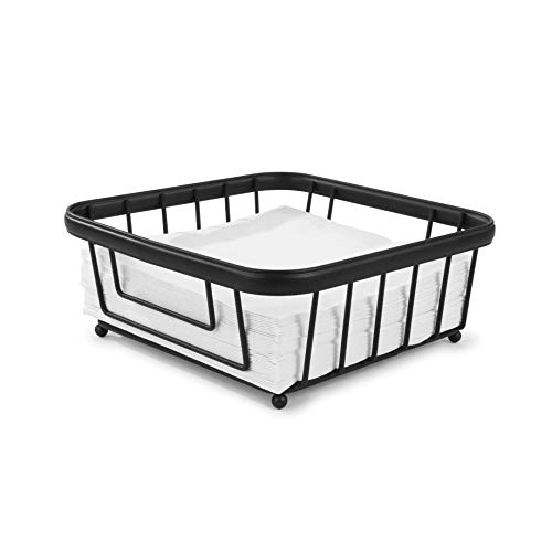 Spectrum Diversified Ashley Flat, Modern Dining Table Décor Horizontal Napkin Holder for Kitchen Tables & Countertops, Black