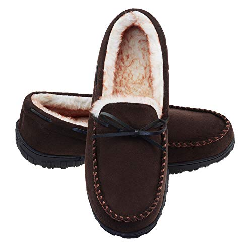 LA PLAGE Slippers for Men Indoor/Outdoor Fleece Moccasin Mens Slippers with Arch Support 8 US Dark Brown
