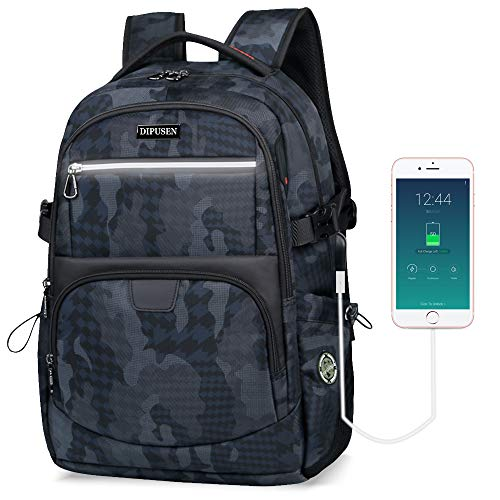 DIPUSEN Backpack for Men with USB Charging Port,Water Resistant Large College School Laptop Bag Camouflage Backpack,Durable Slim Business Wrok Office Travel Backpack for 15.6 Inch Laptop Backpack