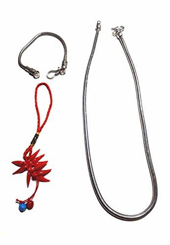Collana 48 50 cm + Bracciale 20 cm Spessore 3 mm Snake Bagno Argento Indiano Ottone Bagnato Omaggio amuleto corni
