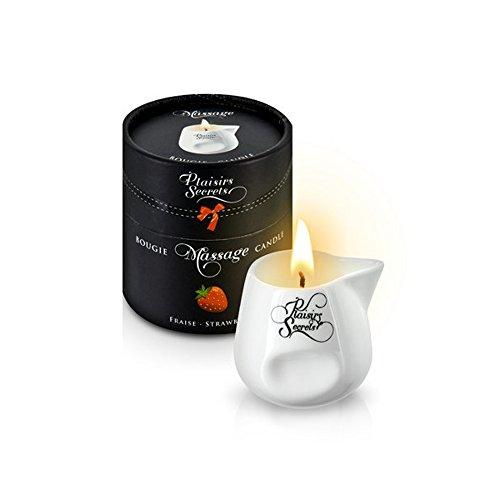 Vela Masaje Erótico Comestible y Afrodisíaca con Aroma Fresa 80 ml. en Recipiente de Cerámica – Plaisirs Secrets Paris