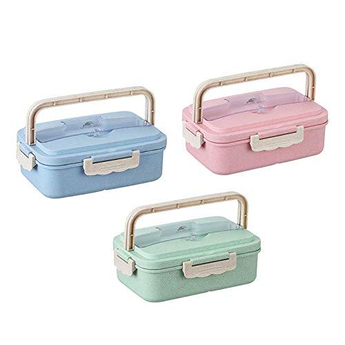 Doupal Weizenstroh Lunchbox für Kinder & Erwachsene 900ml mit Fächern BPA & plastikfrei 300g Auslaufsicher Brotdose mit Unterteilungen Bento Box Umweltfreundlich Brotbox (Blau)