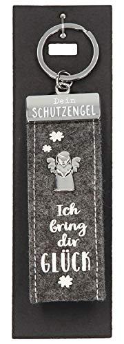 Depesche 10890.011 Schlüsselanhänger aus Filz, mit Schutzengel und Aufschrift, Ich Bring dir Glück, grau, ca. 15 cm