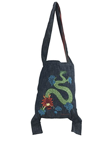 Fornarina Omuta Denim Tote Bag with Embroidered Japanese Dragon