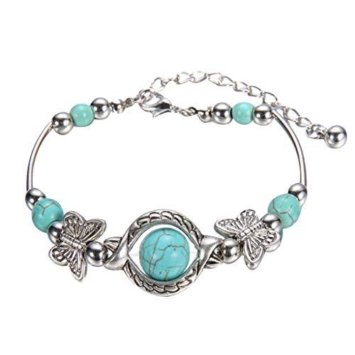 Pulseras de mujer turquesa natural tallado mariposa colgante bohemio pulsera joyería