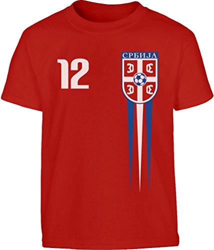 Serbisches Kinder Fantrikot Fanshirt EM 2020 Kleinkind Kinder Jungen T-Shirt 104 (3-4J) Rot