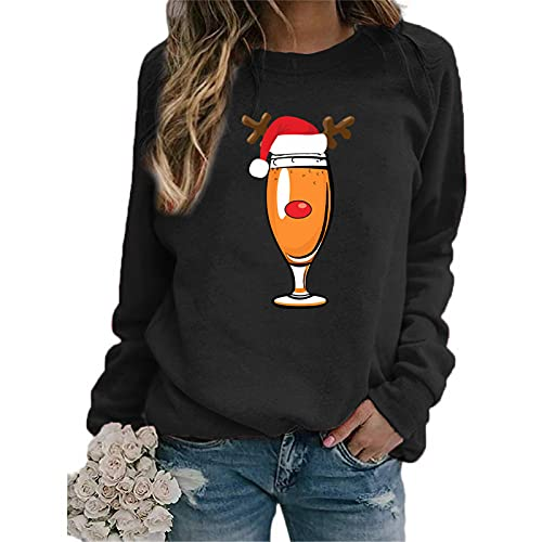 Womens Christmas Pullover Womens Crewneck Sweatshirt Long Sleeve Raglan Letter Print Terry Casual Cute Pullover Top