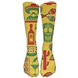 Calcetines de compresión graduados hasta la Rodilla Estilo Sugar Skull de México para Mujeres y Hombres - Los Mejores Calcetines médicos, de enfermería, de Viaje y de Vuelo - Running & Fitness