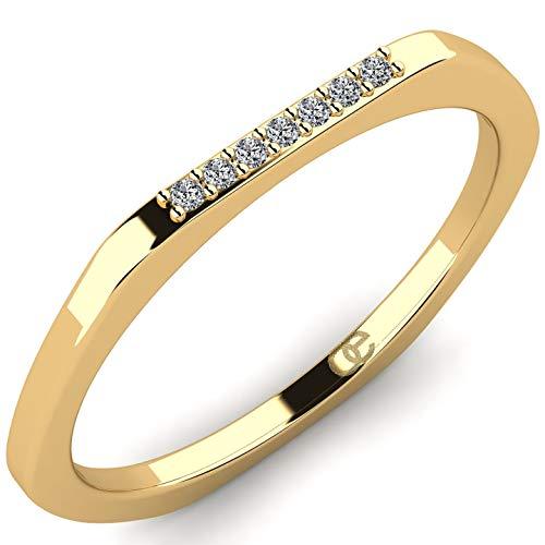 Stilvoller Ring Kamala aus 9K 375 Gelbgold mit 7 VS Diamanten 0,035 ct - Diamantring für Damen von Moncoeur - Damenring - Verlobungsring für Frauen - Damen Goldring - Comfort-Fit + Luxusetui