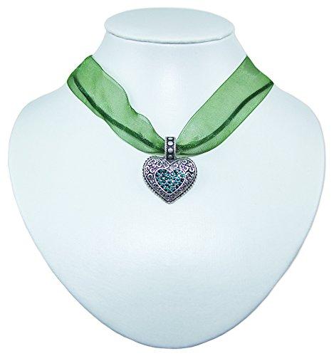 Collana con ciondolo a forma di cuore con strass Swarovski, gioiello di alta qualità per Oktoberfest Dirndl e pantaloni in pelle. verde abete Taglia unica