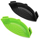 Clip-on Kitchen Food Strainer for Spaghetti, Pasta, Meat, Fruits, Vegetables. Silicone Kitchen Food Strainer for All Sizes of Pots & Bowls-2 PCS. (Black, Green)