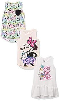 Spotted Zebra Girls  Kids Disney Star Wars Marvel Frozen Princess Sleeveless Tunic T-Shirts 3-Pack Minnie Tie Dye Small