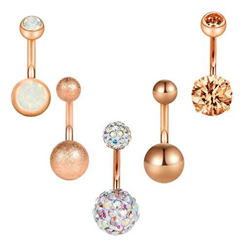 Holibanna 5Pcs Einfache Haltbare Dekor Strass Metall Bauchnabel Nagel Bauchnabel Einstich Ring Pin für Frau
