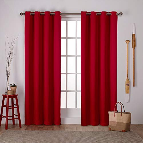 Exclusive Home Curtains Sateen Twill Woven Blackout Grommet Top Curtain Panel Pair, 52x84, Chili, 2 Count