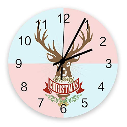 Merrry Christmas Wall Clock Vintage Round Silent Non Ticking Battery Operated Accurate Arabic Numerals Design Home Decorative for Kitchen Living Room Bedroom Office Reindeer Head Lattice Backdrop