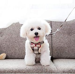 猫 犬用 ハーネス & リード 110cm 胴輪 超小型犬 小型犬 子犬 調整可能 アジャスタブル 通気性 メッシュ ちょうネクタイ 夏服 4サイズ (格子縞模様,L)