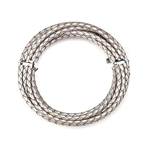 Cuerda de joyería 2 Meter 3mm 4 mm Cable de Cuero Trenzado Genuino para Pulsera de Cuero Que Hace Ronda de Cuero Hilo Collar de Cuerda joyería Hermosa y Duradera (Color : Silver, Size : 3mm)
