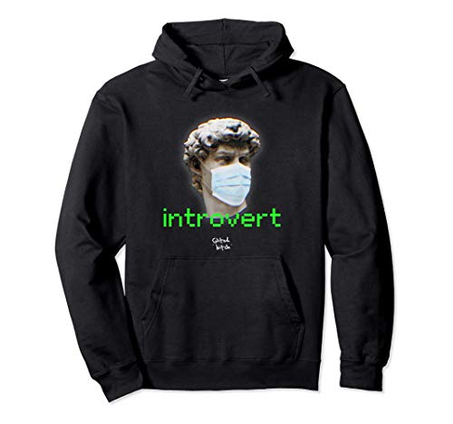 INTROVERT GLITCH FACE DAVID IN MASK PIXEL TEXT Sudadera con Capucha