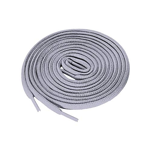 Shoelaces 2 Pair Oval Shoes Laces Half Round 1/4'Athletic ShoeLaces for Sport Running Shoes Shoe Strings (72 inches (183 cm), Gray)