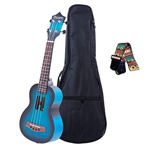 Paisen Lindo ukulele soprano azul de 21 pulgadas para principiantes y niños con bolsa de ukelele acolchada gruesa, correa personalizada, el mejor regalo Aprende a jugar el kit
