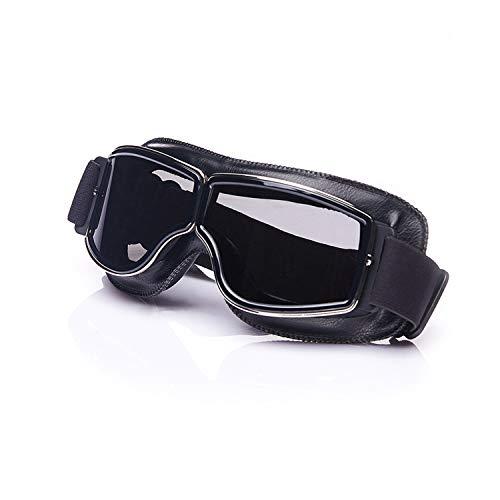 Galatée Occhiali Moto Ski Goggles Biker Motocross Sportivi Protezione Sole UV Vento Protect Harley Chopper Steampunk Vintage Aviator Pilot Casco (Montatura nera - Lente grigia)