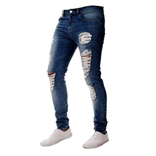 SoonerQuicker Jeans voor heren, met gaten, slim fit, straight, stretch geribbeld, scheuren, skinny, elastaan, ritssluiting, onder, nauwsluitend, lange broek, voor mannen, regular fit