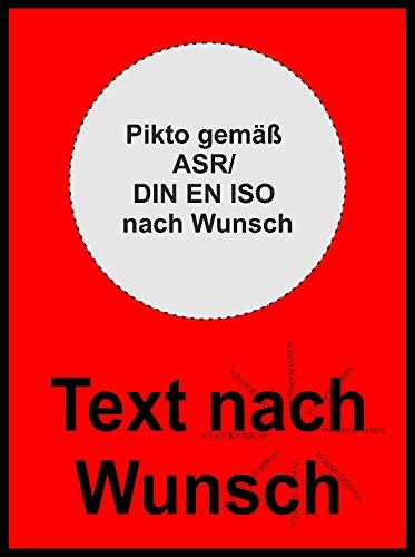 10cm! 2Stück! Klebe-Folie Wetterfest Made-IN-Germany: Pikto-Hinweis-Schild-DIN EN ISO-ASR-Text-Wunsch-Rot C168 UV&Waschanlagenfest Auto-Aufkleber Profi-Qualität!
