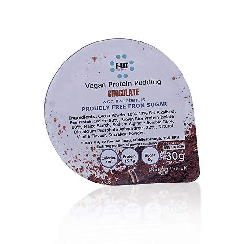 F-EAT Vegan Chocolate Flavour Protein Pudding Mix with Premium Protein Isolate, Free from Sugar (30g Single Serving)