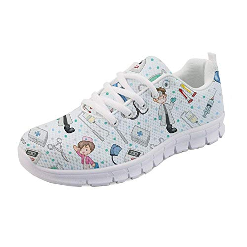 Showudesigns Zapatillas de Running para Mujer Enfermero Modelo Zapatillas Mujer Deporte Running Zapatos para Correr Gimnasio Sneakers Deportivas Transpirables Casual