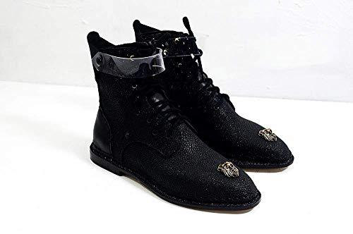 THE CARBON SIN II - The Shoemaker Der Schuster Handgefertigte Hand Genäht Leder Rindsleder Stiefel Männer Frauen Unisex Einzigartige Schwarz Einzigartige