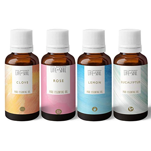 Smelling Set- Rose, Clove, Eucalyptus, Lemon- 4 x 10ml Pure Essential Oils- Loss of Smell Test Kit- Charity Donation- Gift Set- Starter Kit