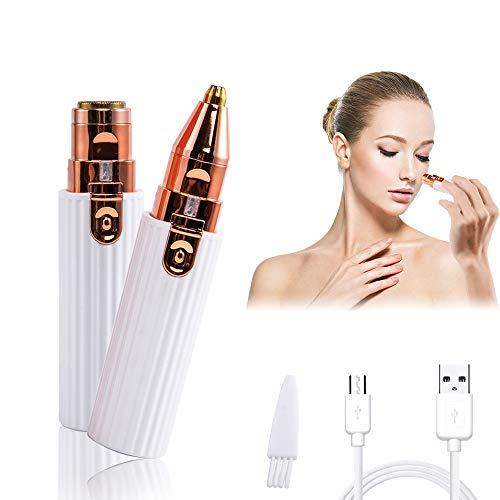 APEBAZY Depiladora Facial Mujer, Depiladora Cejas Mujer, 2 en 1 Dispositivo de depilación de rostro femenino, USB Recargable Impermeable Portátil sin Dolor Luz LED Para Cara, Cejas, Cuerpo
